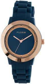 Pilgrim Rose Gold Plated Blue Rubber Diver Watch