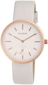 Pilgrim Rose gold plated with white watch