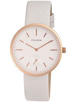 Rose gold plated with white watch