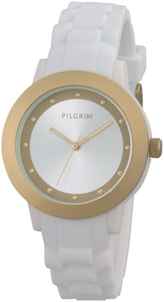 Pilgrim Gold Plated White Diver Watch