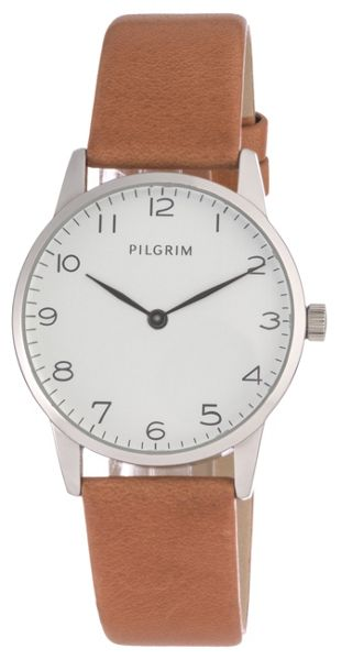 Pilgrim Silver plated with brown watch
