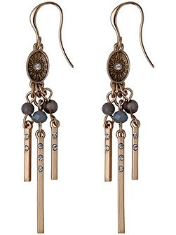 Grey and rose gold colour earrings