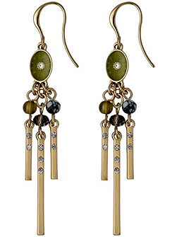 Green and gold colour earrings