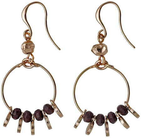 Pilgrim Brown and rose gold colour earrings