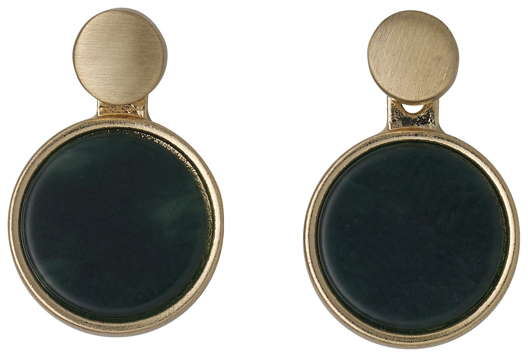 pilgrim green and gold plated 2 in 1 earrings