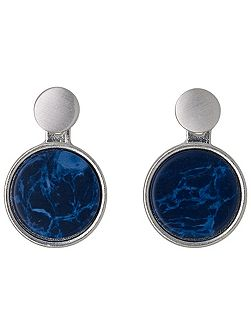 Blue and silver plated 2 in 1 earrings