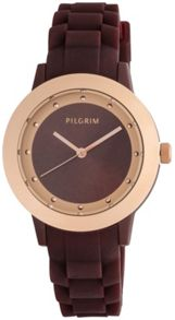 Pilgrim Brown and rose gold plated watch