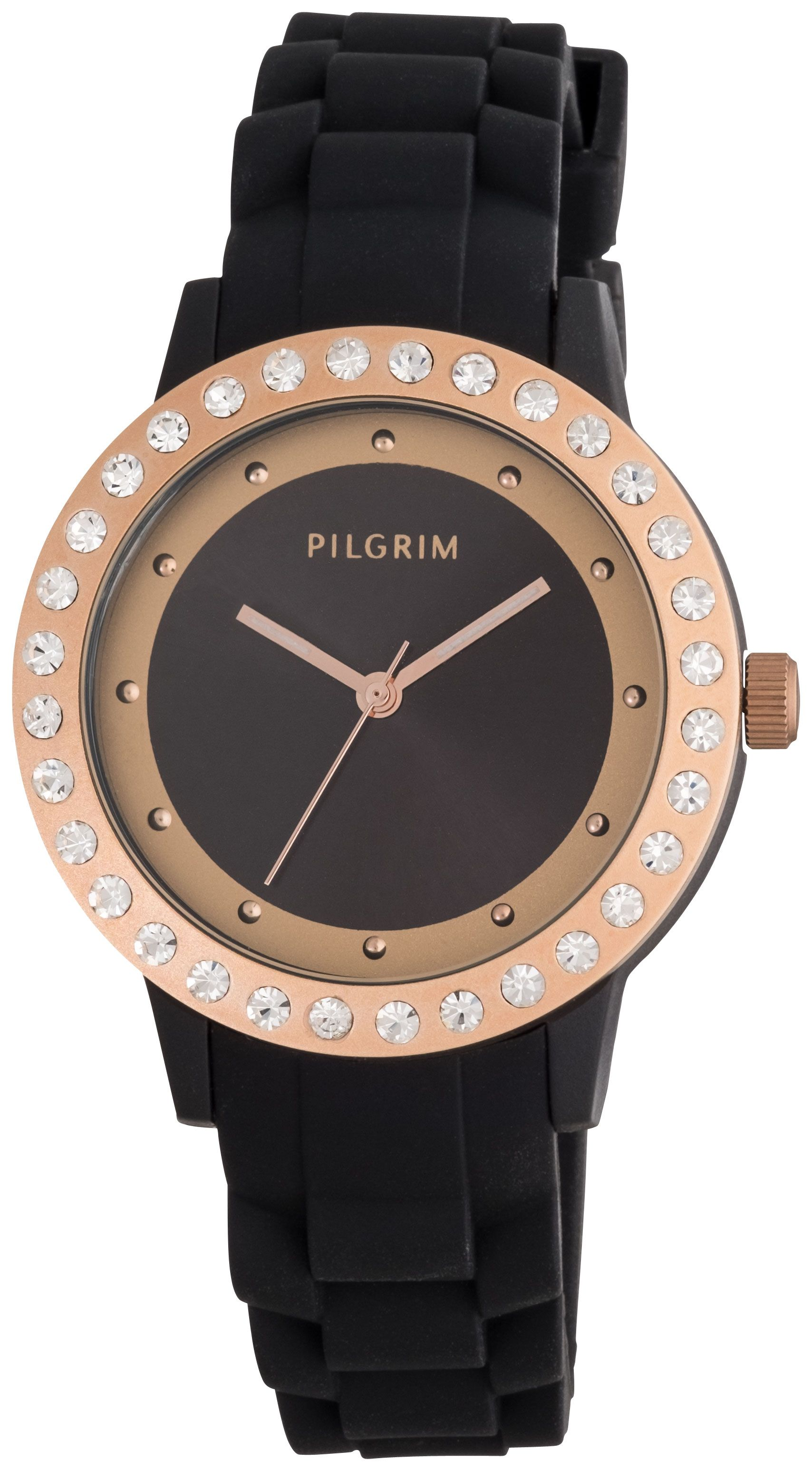 Pilgrim Rose gold plated black silicon watch Black