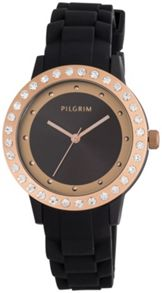 Pilgrim Rose gold plated black silicon watch