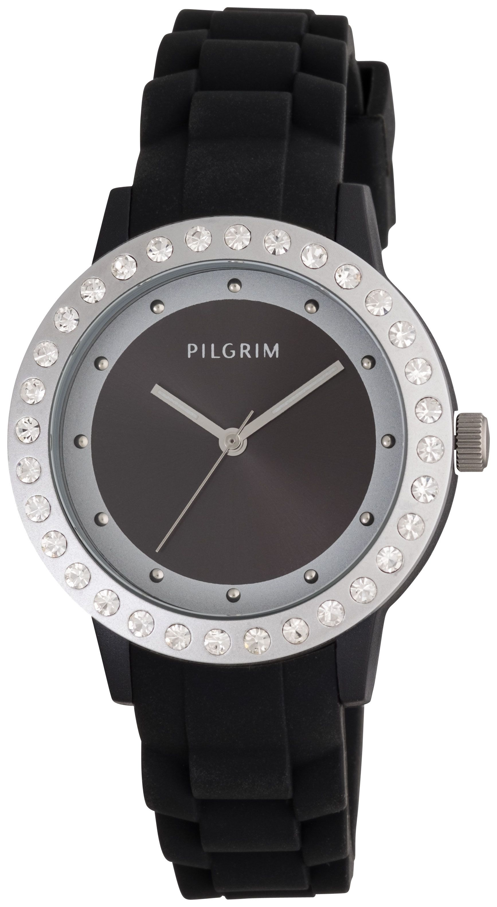 Pilgrim Black and silver plated watch Black