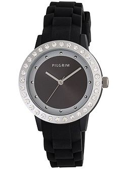 Black and silver plated watch