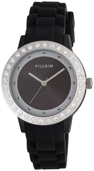 Pilgrim Black and silver plated watch