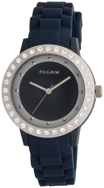 Pilgrim Blue and silver plated watch