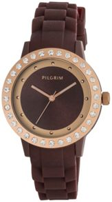 Pilgrim Rose gold plated with brown watch