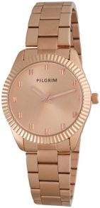 Pilgrim Rose gold plated metal band watch
