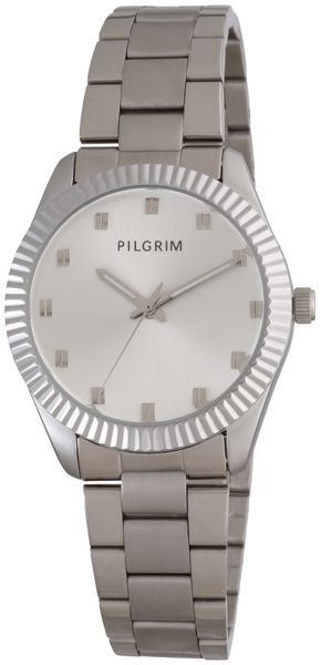 Pilgrim Silver plated metal band watch