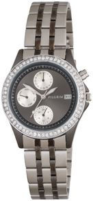 Pilgrim Silver plated hematite crystal watch