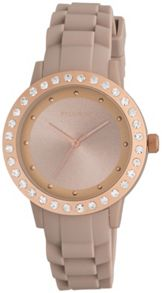 Pilgrim Rose gold plated nude silicon watch