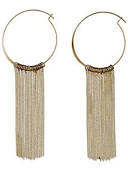 Gold plated curb chains hoop earrings
