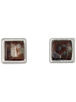 Silver plated brown stud earrings