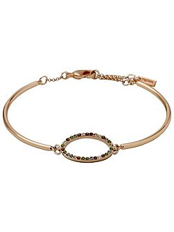 Rose gold oval charm bracelet