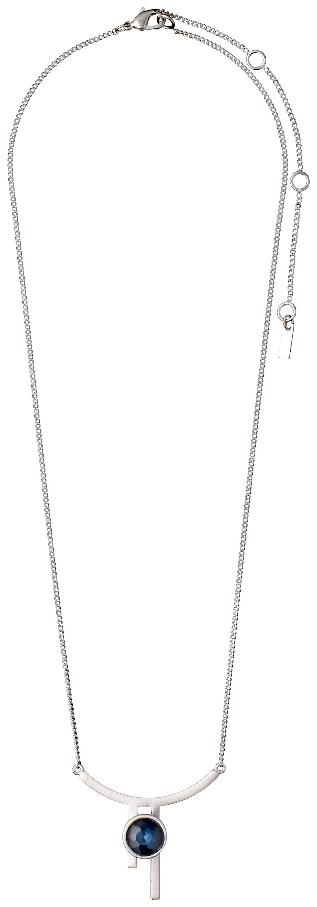 pilgrim silver plated blue curved bar necklace