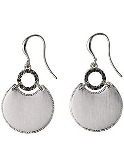 Silver plated grey dangle earrings