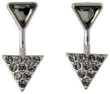 Pilgrim Silver plated 2 in 1 triangle earrings