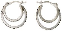 Pilgrim Silver plated double hoop earrings