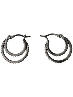 Hematite grey double hoop earrings