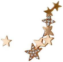 Pilgrim Rose gold stars ear crawler earrings