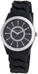 Pilgrim Silver plated black silicon watch