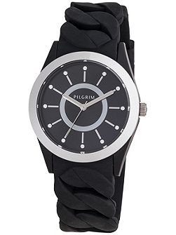Silver plated black silicon watch