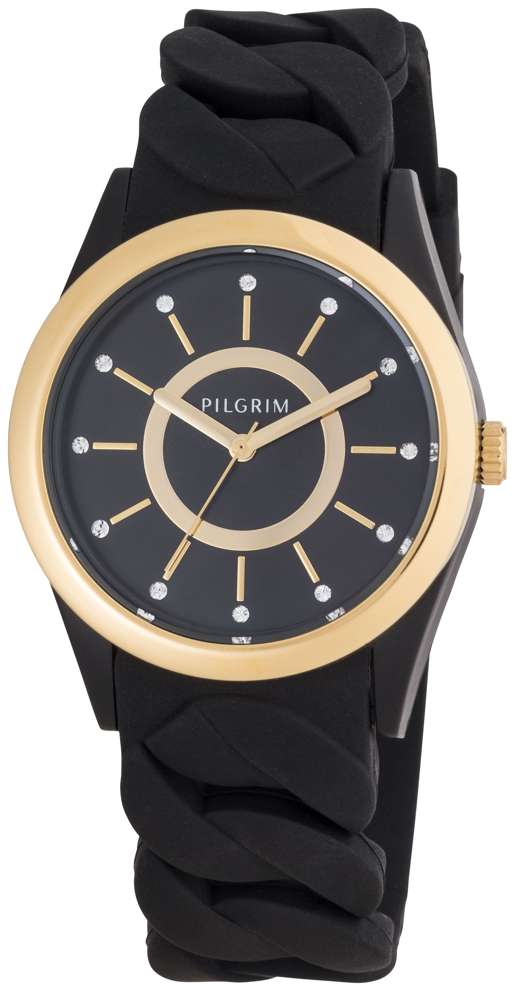 Pilgrim Gold plated black silicon watch Black