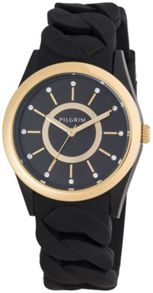 Pilgrim Gold plated black silicon watch