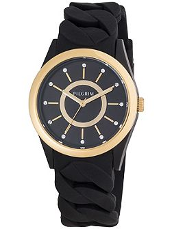 Gold plated black silicon watch