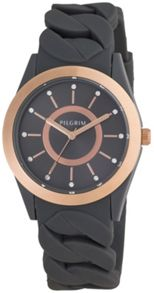 Pilgrim Rose gold plated grey silicon watch
