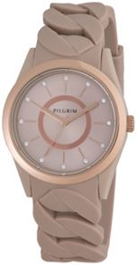 Pilgrim Rose gold plated brown silicon watch