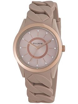 Rose gold plated brown silicon watch