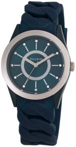 Pilgrim Silver plated blue silicon watch