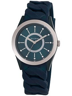Silver plated blue silicon watch