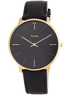 Gold plated black crock print watch