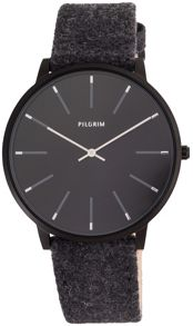Pilgrim Hematite colour black wool band watch