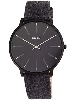 Hematite colour black wool band watch