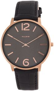 Pilgrim Rose gold plated black croc watch