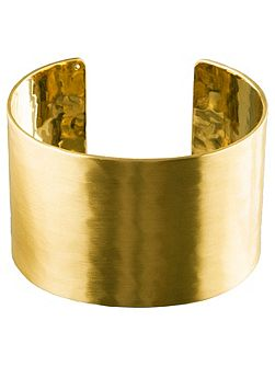 Wide Hammered Gold Plated Cuff Bracelet