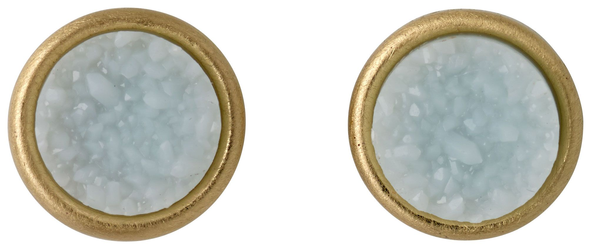 pilgrim gold plated ear studs with a green stone