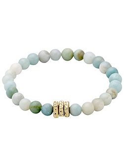 Gold plated green shades pearl bracelet
