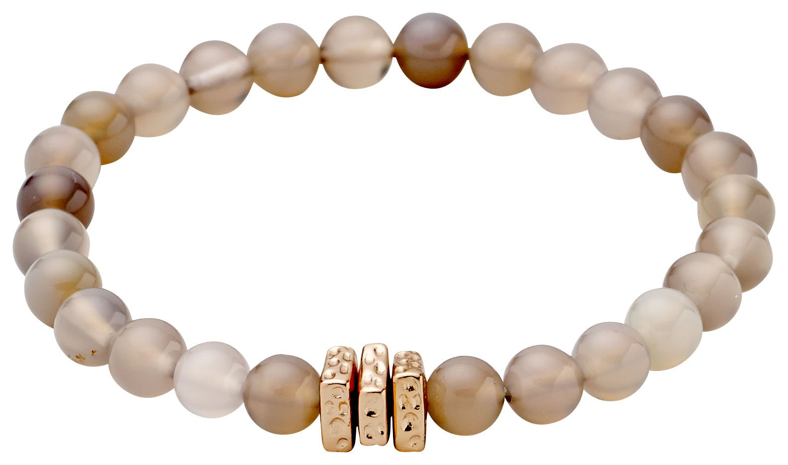 Pilgrim Delicate pearl bracelet with grey agate NA