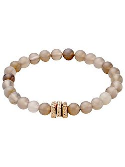 Delicate pearl bracelet with grey agate